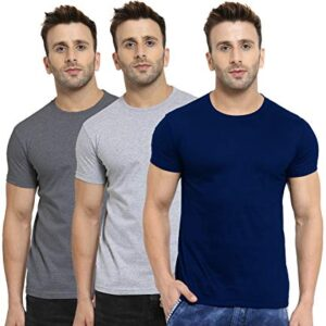 Scott International Men's Basic Cotton Round Neck Half Sleeve Solid T-Shirts -Pack of 3