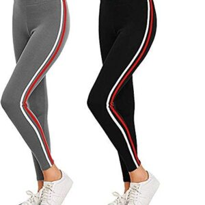 AJ Fashion Gym wear Leggings Ankle Length Free Size Workout Trousers | Stretchable Striped Jeggings | High Waist Sports Fitness Yoga Track Pants for Girls & Women (Pack of 2)