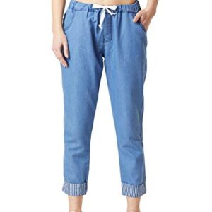 Miss Chase Women's Blue Cropped Length Mid Rise Denim Joggers