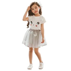 Googo Gaaga Girls Top and Skirt in White and Grey Color