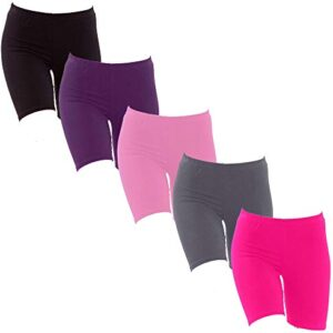 Eazy Trendz – Girls Lycra 4 Way Stretchable Cycling,Yoga,Jogging Shorts/Tights,190 GSM Pack of 5 (Pink, Black,Navy,Purple,Grey)