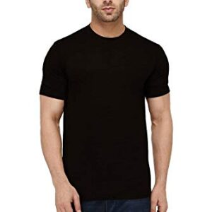 Nextdoorbox Men's Solid Regular Fit Half Sleeve Cotton Classic Round Neck T-Shirts (Black)