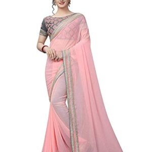 Ethnic Wings Women's Georgette Saree With Blouse Piece (LJKNGG10660_Peach)