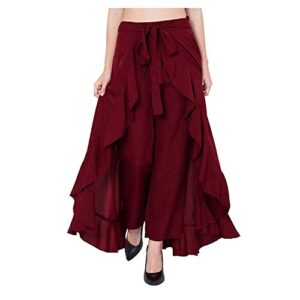 SBJ COLLECTIONS Women's Ruffle Pants Split High Waist Maxi Long Crepe Palazzo Overlay Pant Skirt