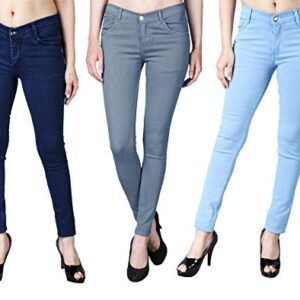DRRAGON Women Slim Fit Light Blue, Grey and Dark Blue Jeans Combo- Set of 3