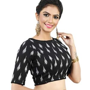 MADHU FASHION's Women's Readymade Black Ikat Print Pure Cotton Blouse