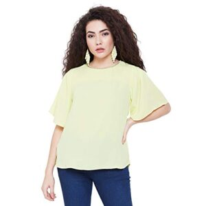 Madame Yellow Round Neck Solid Casual Textile Top