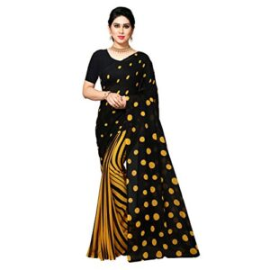 Anand Sarees Half and Half Yellow Georgette Saree with Blouse Piece