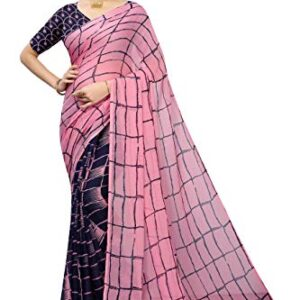 GLE Soft Georgette Crepe Blend Saree With Blouse, Ideal For Women and Girls(MORE THAN 20 PRINTS)