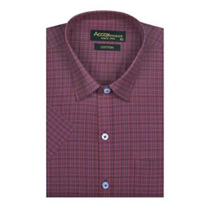 ACCOX Men's Half Sleeves Formal Regular Fit Cotton Check Shirt(Maroon,GO533)