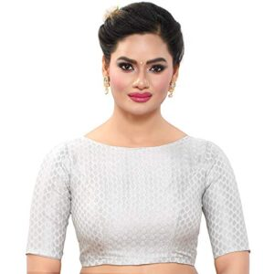 MADHU FASHION's Women's Silver Banaras Brocade Readymade Saree Blouse with Elbow Length Sleeves & with Boat Neck