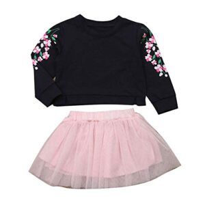 Hopscotch Baby Girls Cotton Top and Skirt Set in Navy Color