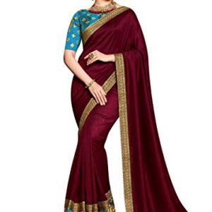 Fancy Lifestyle women's embroidery and Lace worked multi coloured silk saree for women