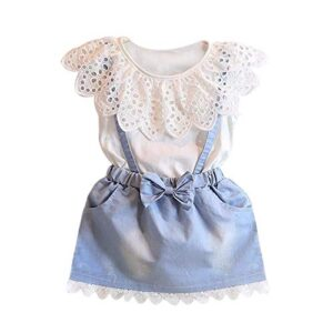 Bold N Elegant Cute Cartoon Bear Top and Denim Suspender Skirt Pinafore Birthday Party Pinny Dress for Infant Toddler Baby Girls