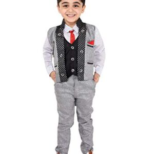 Fourfolds Ethnic Wear 3 Piece Suit Set with Shirt Trousers Tie and Waistcoat for Kids and Boys_FC012