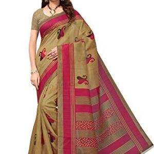 GoSriKi synthetic with blouse piece Saree
