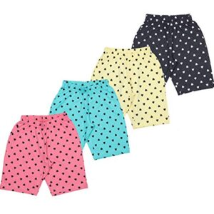 MINNOW Girl's Cotton Heartin Printed Shorts – Pack of 4