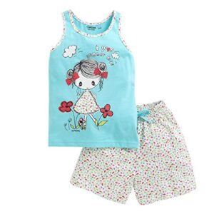 Hopscotch Do Re Me Girls Cotton Sleeveless Top with Short Set in Blue Color