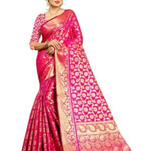 Ek-Pal Women's Banarasi Silk Saree With Blouse Piece