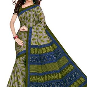 Tamaira Fashion Women's Pure Cotton Saree Without Blouse Piece (1354_Grey_Malmal)