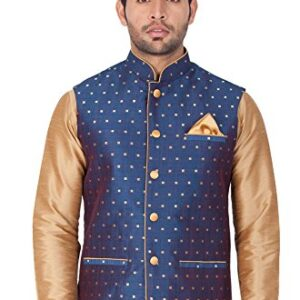 Vastramay Men's Egyptian Blue Cotton Blend Ethnic Jacket