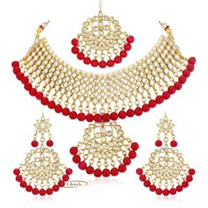I Jewels Traditional Kundan & Pearl Choker Necklace Set for Women (K7058R)