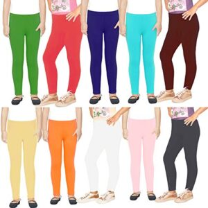 FAIQA Girls's Cotton Leggings Combo Multicolour- Pack of 10 (from 2 years to 18 years)