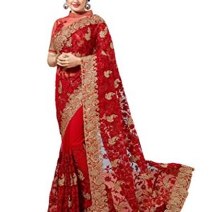 Arohi Designer Red Net Embroidered Saree With Blouse-591F963A1462455E