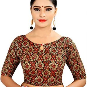 Ocean Fashion Women's Brocade & Georgette Readymade Saree's Blouse