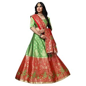 MANSVI FASHION Women's Silk & Jacquard Blend Lehenga Choli