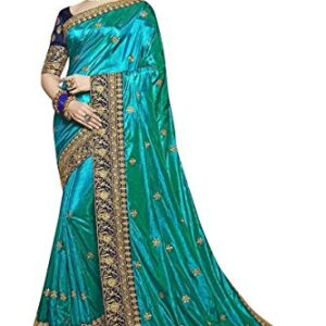 Entaro International Women's Embroidery Worked Vichitra/Rangoli Silk Saree with Lace Work (Blouse Piece Included)