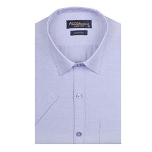 ACCOX Men's Half Sleeves Formal Regular Fit Cotton Plain Shirt(GO540)