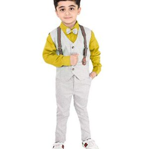 Fourfolds Ethnic Wear 3 Piece Suit Set with Shirt Trousers Tie and Gallace Waistcoat for Kids and Boys_FC010