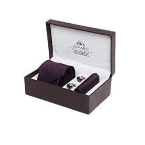 Alvaro Castagnino Casual/Formal Necktie With Pocket Square And Cufflink Combo Gift Set For Men