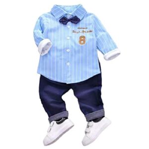 A P Boutique Baby Boys Shirt Pant Set (Blue, 3-4 Years)