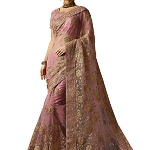 Arohi Designer Women's Net Saree with Blouse Piece (Multicolour)