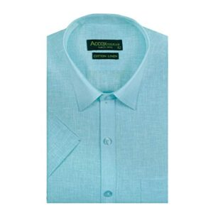 ACCOX Men's Half Sleeves Formal Regular Fit Cotton Linen Shirt(Ocean Blue,GO524)