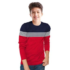 BLIVE Boy's Striped Cotton Blend Round Neck Full Sleeves T Shirt | Navy, Red