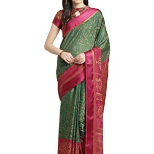 AKHILAM Women's Brasso Saree with Unstitched Blouse Piece (Green_PRBS02C)