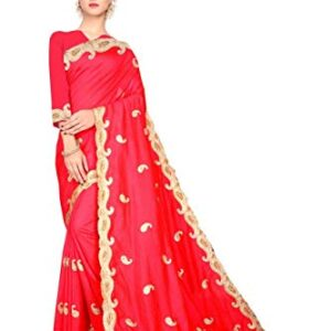 Double Seven Creation Women's red embroidery Saree heavy diamond stone with Blouse work Piece