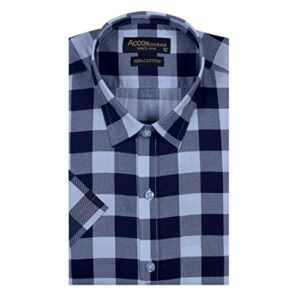 ACCOX Men's Half Sleeves Formal Regular Fit Cotton Check Shirt(Multi,GC164)