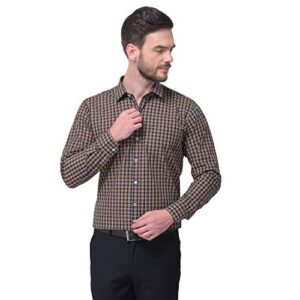 ACCOX Long Sleeves Check Formal Regular Fit Cotton Shirt for Men