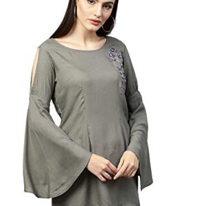 AKHILAM Women's indo-Western Rayon Top (tops for womens_Rinkal507_Grey)