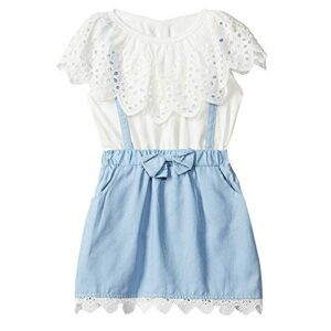 Hopscotch Baby Girls Cotton Funky Mid Thigh Length Dress in White Color