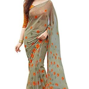 Aarrah Women's Plain Weave Georgette Saree With Un-stitched Blouse (SIYA-9007_Multicolored)