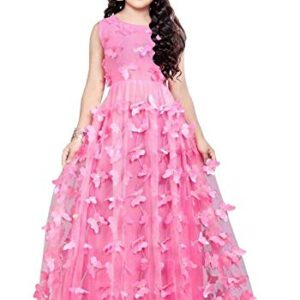 Cartyshop Butterfly Birthday Readymade Girls Gown Dress.