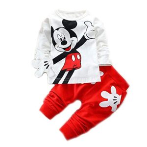 Bold N Elegant Attractive White n Red Mickey Mouse Cute Cartoon Tshirt Pyjama Set Little Baby Boy Girl Clothing Two Piece Full Length Tee n Pant for Kids