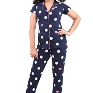 9shines Label Girl's Hosiery Cotton Printed Pajama Set (Pack of 1)