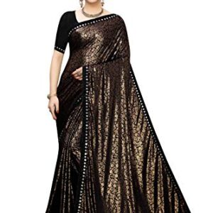 Anni Designer Black Color Lycra Golden Flower Print Saree With Blouse Piece (MITHUNJAY_BLACK_Free Size)