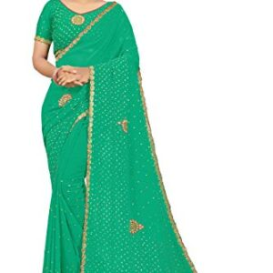 Jaina sarees Georgette Heavy Embroidered Stone Work with fancy Cut work border
